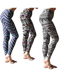 Sexy Basics Women's 3 Pack Printed Brushed Buttery Soft Skinny Pant Long Leggings
