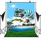 MEETS 5X7ft Cartoon Shooting Backdrop Roller Coaster Hot Air Balloon Ferris Wheel Picture Newborn Children Photo Birthday Party Studio Props Backgroung NANMT006