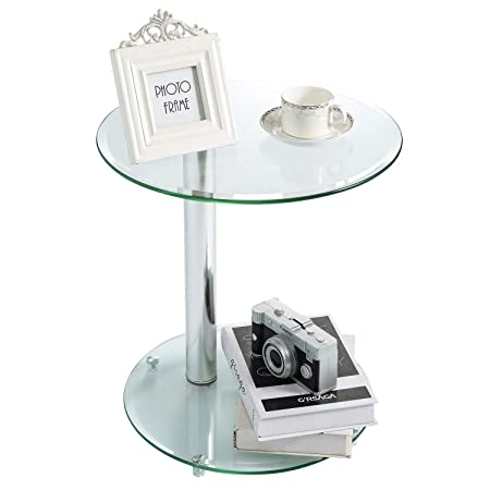 Rfiver Round Coffee Table Small Side Table End Table, Save Space Corner Table for Living Room Bedroom, Clear Tempered Glass W17.7 x D17.7 x H18.9, ET6001