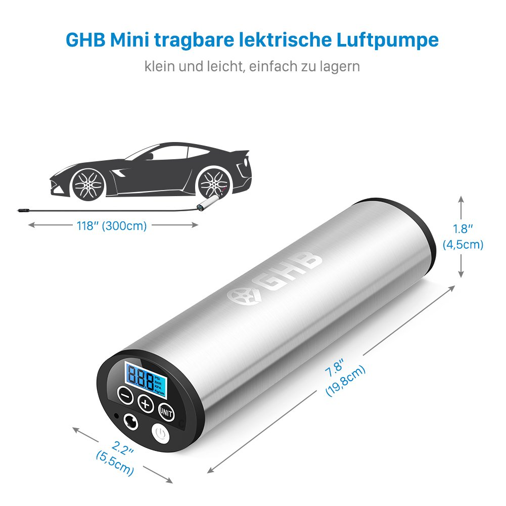 GHB Mini Auto-Luftpumpe Elektrischer Luftverdichter f/ür Fahrrad Ball Ballon 150 PSI Portabel Aufladbar mit LCD-Display Verpackung MEHRWEG