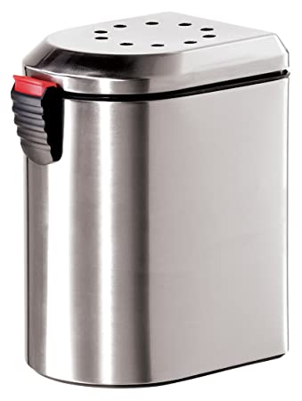 Oggi 7289.0 Deluxe Stainless Steel Countertop Compost Pail With EZ Open Lid  And Charcoal Filter