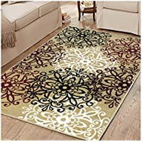 Superior Elegant Leigh Collection Area Rug, 8mm Pile Height with Jute Backing, Chic Contemporary Floral Medallion Pattern, Anti-Static, Water-Repellent Rugs, 27 x 8 Runner, Gold