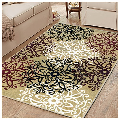 gh Collection Area Rug, 8mm Pile Height with Jute Backing,  Chic Contemporary Floral Medallion Pattern, Anti-Static, Water-Repellent Rugs, 4' x 6' Rug, Gold (6 Gold Area Rug)