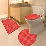 3 Piece Anti-slip mat set Arabesque Style Tile Motifs Orienta Roya Red Flora Peta Pattern Print Extralong Scar Non Slip Bathroom Rugs