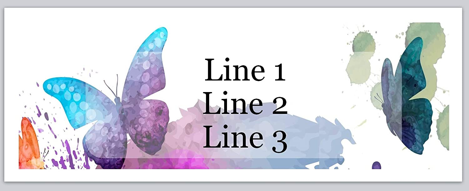 400 Personalized Blue Butterfly Return Address Labels 1//2 inch by 1 3//4 inch