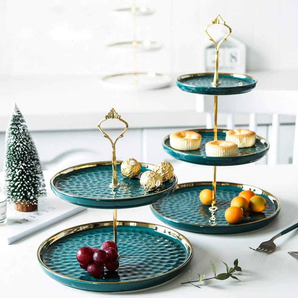 2 Set of Round Porcelain Tiered Cupcake Stand, Dessert Plates Stand, Mini Cakes Fruit Candy Display Tower, Luxury Emerald Serving Tray for Wedding / Kids Birthday / Tea Party / Baby Shower