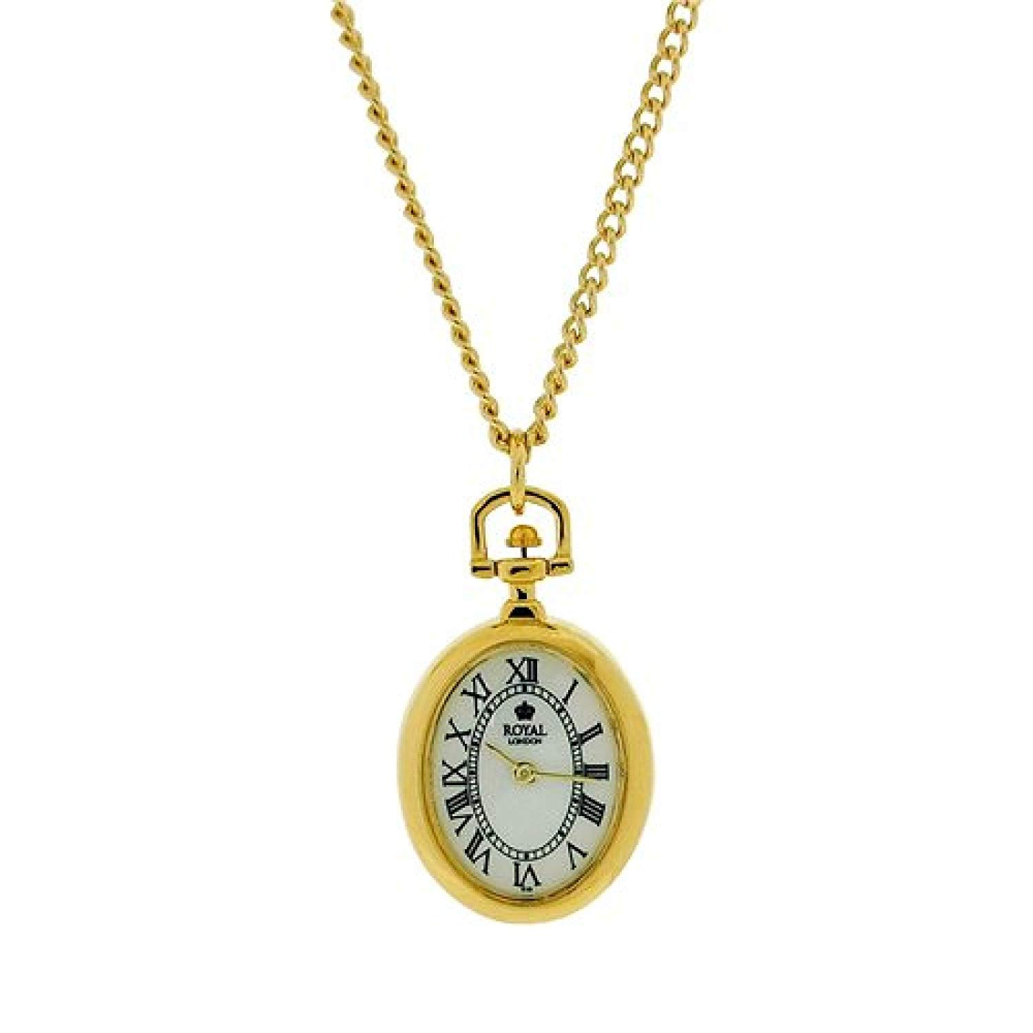 Royal London Ladies Open Faced Goldtone Pendant Watch Necklace On 26 Chain
