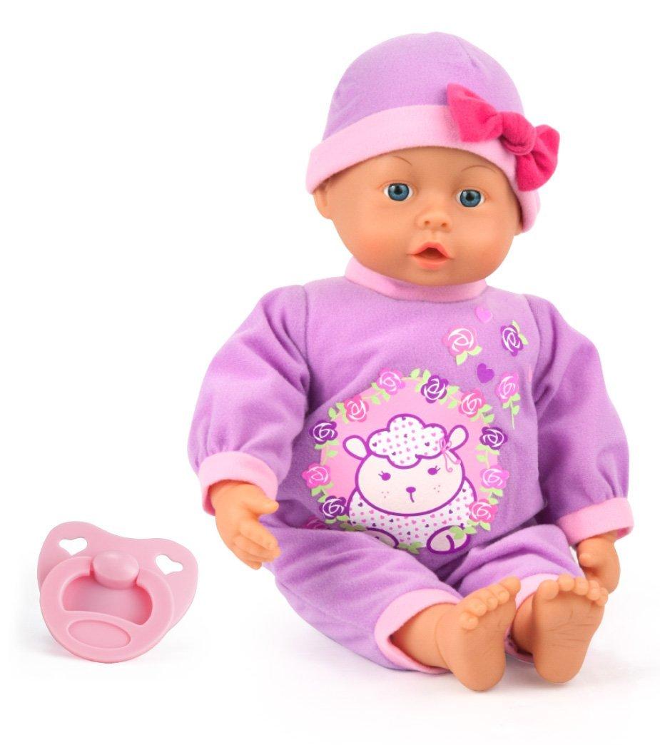Bayer Design 9386700 Funktionspuppe First Words Baby mit 24 Lauten, 38 cm, lila