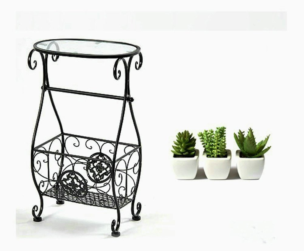 Magazine Rack w/Toliet Paper Holder Multi Purpose ,Accent Tables Metal & Glass Side Table with Scroll Magazine Rack, Measures 10'' x 15'' x 26'' Tall ! by Eastern Cloud (Image #1)
