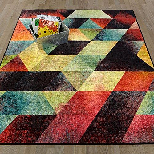 [Ottomanson Rainbow Collection Non-Slip Modern Children's Abstract Art Deco Design Area Rug, 39