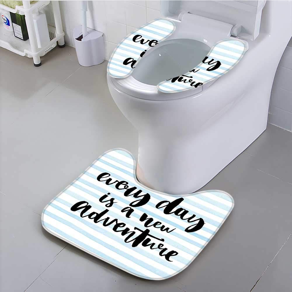 Philiphome Use The Toilet seat Every Day is a New Adventure Calligraphy Text Watercolor Stripes Print Light Blue Non-Slip