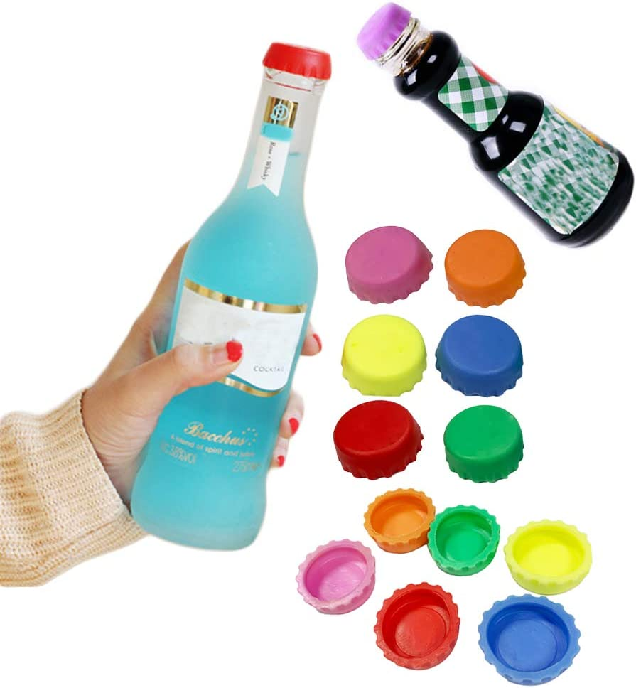 36 Pcs Silicone Rubber Beer Bottle Caps, Bottle Stoppers for Home Brewing Beer, Soft Drink, Soda Bottle Kitchen Gadgets, Multicolor, with Homemade Tag (6 color)