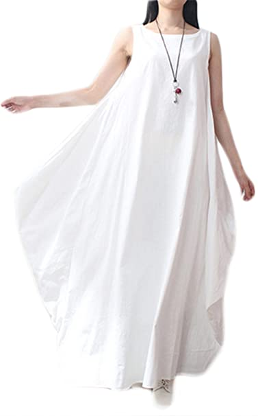 c733430ed6 JINTING Women Elegant Loose Sleeveless O Neck Dress Cotton Linen Long Maxi  Dress Size M (