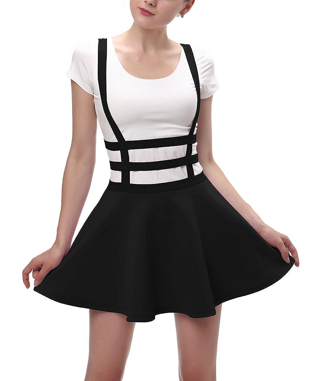 Pandapang Women's Pleated Short Braces Suspender Zipper Skirt