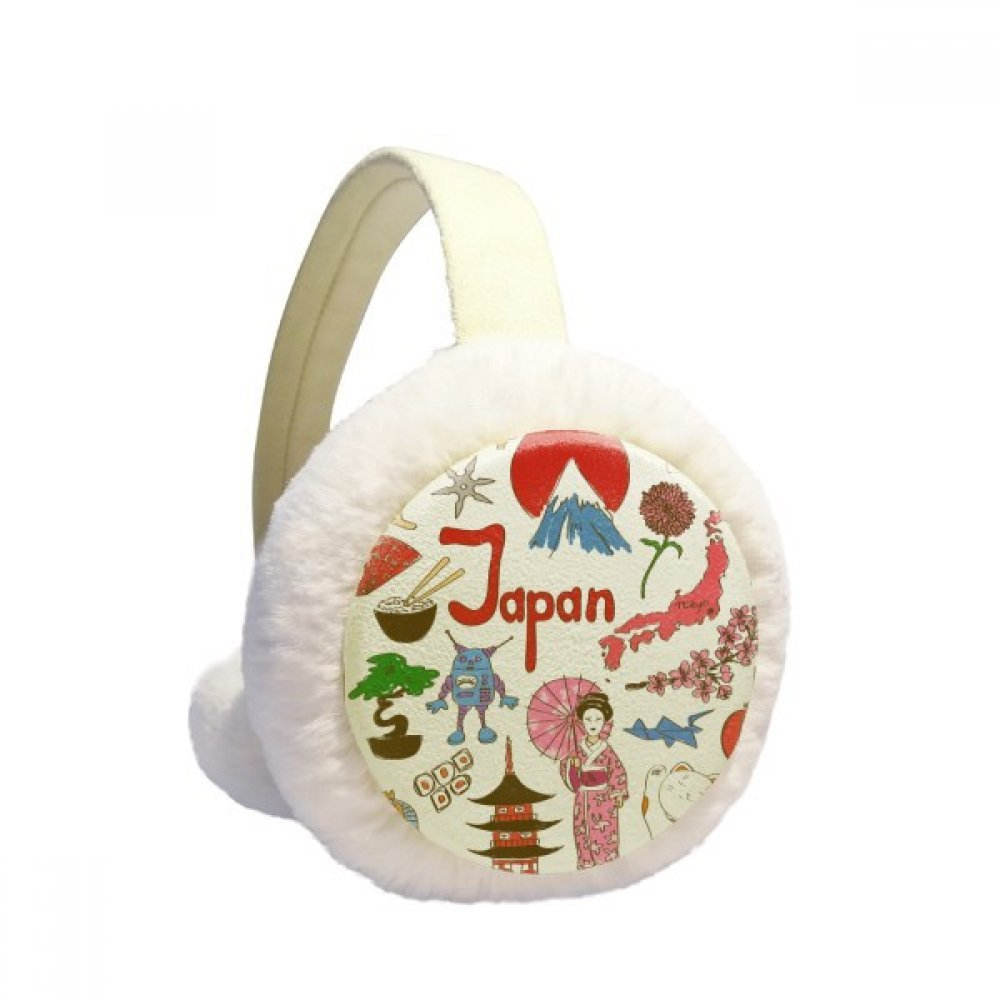 Japan Landscap Animals National Flag Winter Earmuffs Ear Warmers Faux Fur Foldable Plush Outdoor Gift