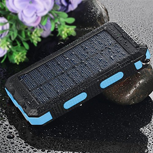Review Solar Charger,Solar Power Bank 20000mAh Waterproof Portable External Battery USB Charger Built in LED light with Compass for iPad iPhone Android Cellphones (Black & Blue)