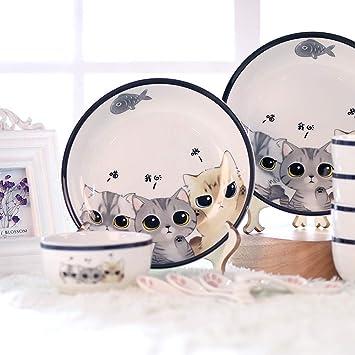 Platos de vajilla set lindo gato cubiertos conjunto tazón de ...