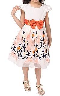 89995f27e5141 Bigood Robe Princesse Fille Manche Courte Col Rond Nœud Papillon Fleur  Mariage