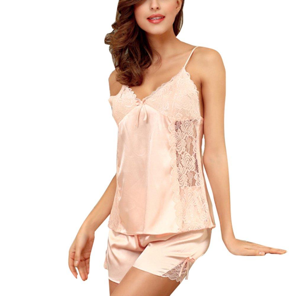 Carnation Share Maison Women's Girls Sexy VNeck Backless Summer Lace Satin Lingerie Sleepwear Set Shorts Chemise Nightgown