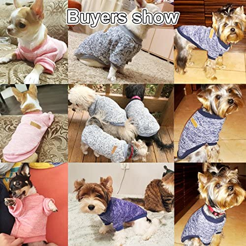 Idepet Pet Dog Classic Knitwear Sweater Fleece Coat Soft Thickening Warm Pup Dogs Shirt Winter Pet Dog Cat Clothes Puppy Customes Clothing for Small Dogs (Read The Size Chart First) 52