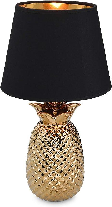 Navaris Ananas Luce da Tavolo Base Lampada Color Oro in Ceramica Dorata e Paralume Nero Alta 40cm Funziona con Lampadine E14 Golden Pineapple Lamp
