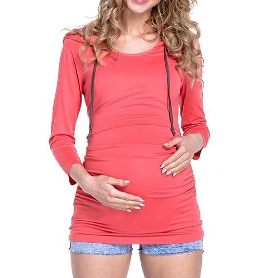 BBsmile premamá Camisetas, Mujeres Maternidad Enfermeras Ropa de Manga Larga para Embarazadas Blusa (Rosa