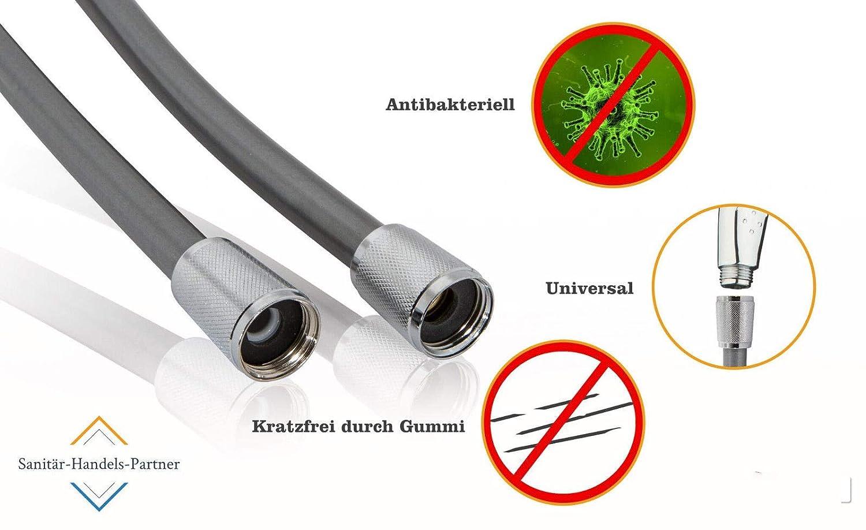 lisa fabricada en Alemania,/con conexi/ón normalizada universal y superficie antibacterianaManguera de ducha en plateado con tope de giro. Manguera de ducha SHP de alta calidad