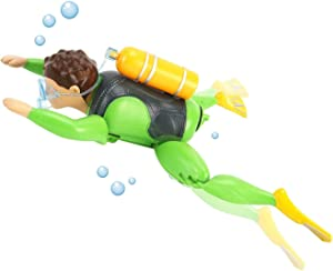 Liberty Imports Underwater Adventurer Scuba Diver Man Swimming Bath Figure - Electric Kids Water Bathtub Toy - Battery Operated and Really Swims