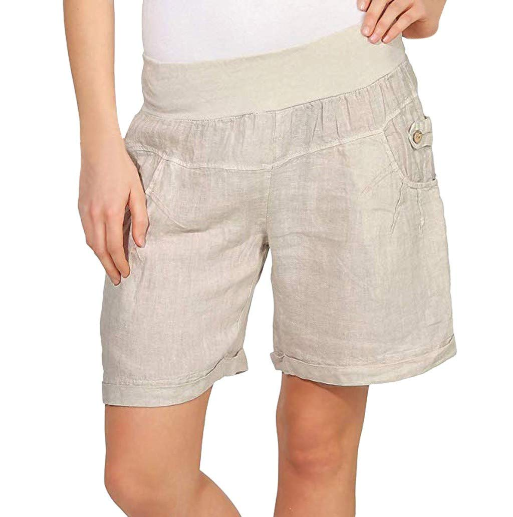 WUAI-Women Casual Elastic Waist Summer Loose Super Light Beach Shorts Hot Pants with Pockets