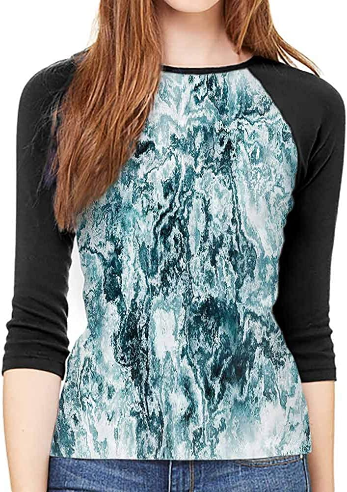 QIAOQIAOLO Marble Casual Women's mid-Sleeve T-Shirt Wear Inner and Outer Slim-fit Teens