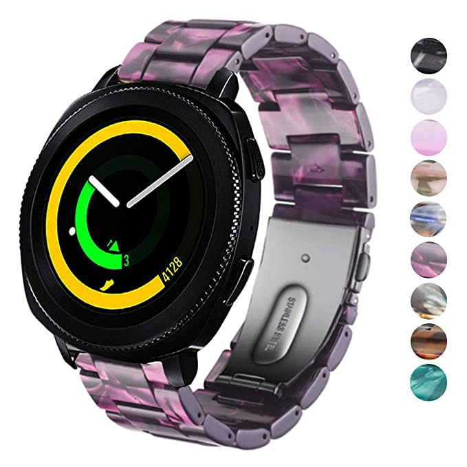 DELELE Watchband for Samsung Gear Sport/Gear S2 Classic/Galaxy Watch 42mm, 20mm Colorful Resin Replacement Strap with Steel Buckle for Samsung Gear ...