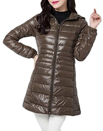 242c59d2018 SELX Women Lightweight Hooded Zip Up Plus Size Packable Puffer Down Coat  Army Green US XS