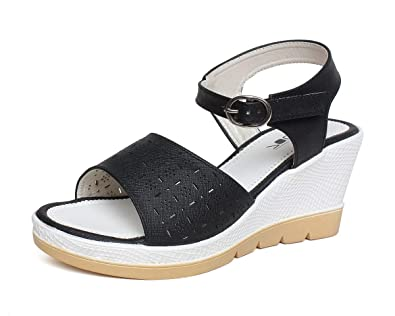 aefc13a9b06f Vendoz Women Casual Black Wedges  Buy Online at Low Prices in India ...