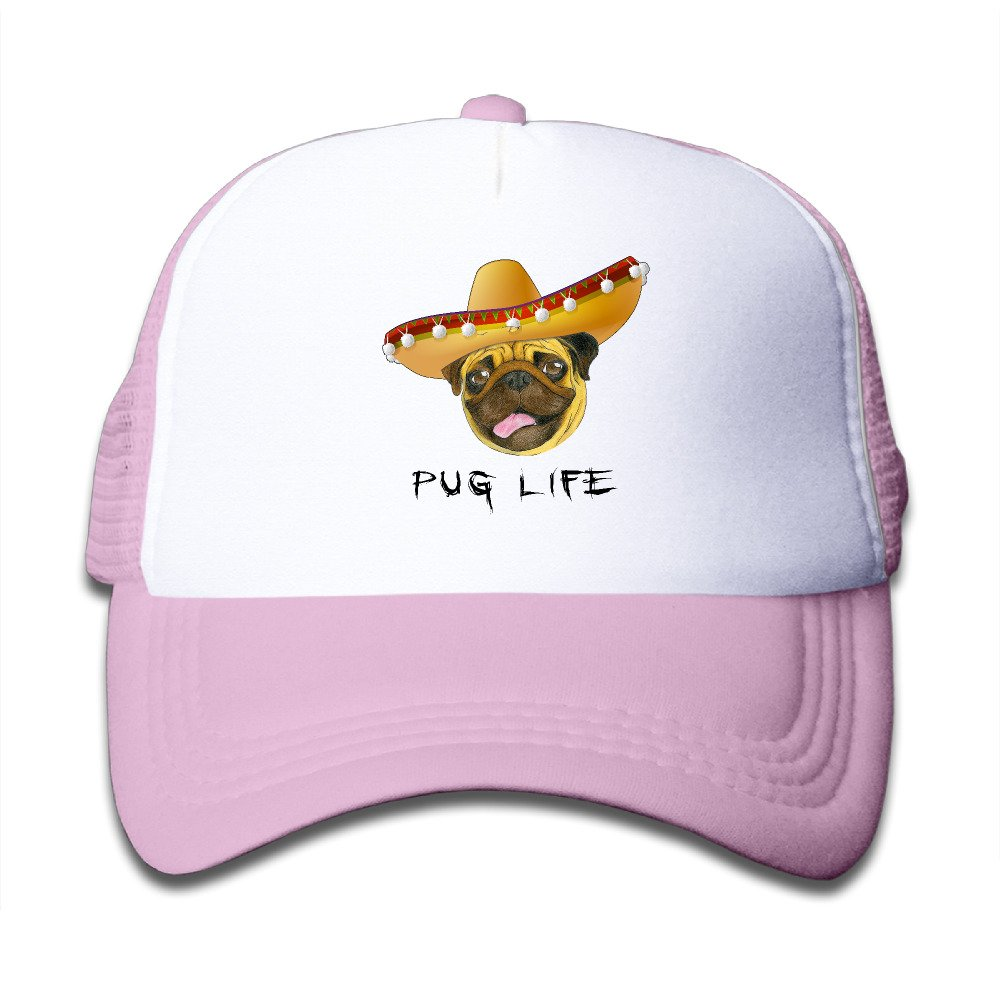 Kids Pug Life Mexico Hat Trucker Mesh Baseball Cap Hat Trucker Hats Pink