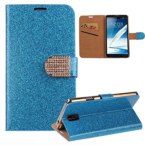 IKASEFU Case For Galaxy Note 4,Cover For Galaxy Note 4,Flip Case For Galaxy Note 4,Wallet Case For Samsung Galaxy Note 4, Luxury Bling PU Leather Glitter Book Style Crystal Diamond Magnetic Buckle Design Folio Wallet Case Cover With Credit Cards Pockets Stand Case for Samsung Galaxy Note 4 (Blue)
