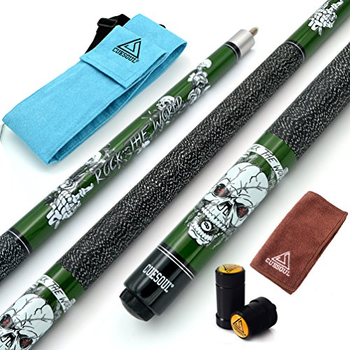 CUESOUL 57 inch 21oz 1/2 Maple Pool Cue Stick Kit- Rock The World Stylish Pattern Cue Design in Green Paint (Stick Pool Cane)