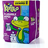 Flushable Baby Wipes for Kids, Sensitive by Kandoo, Hypoallergenic Potty Training Wet Cleansing Cloths Refills, Unscented, 200 Count, Single Package