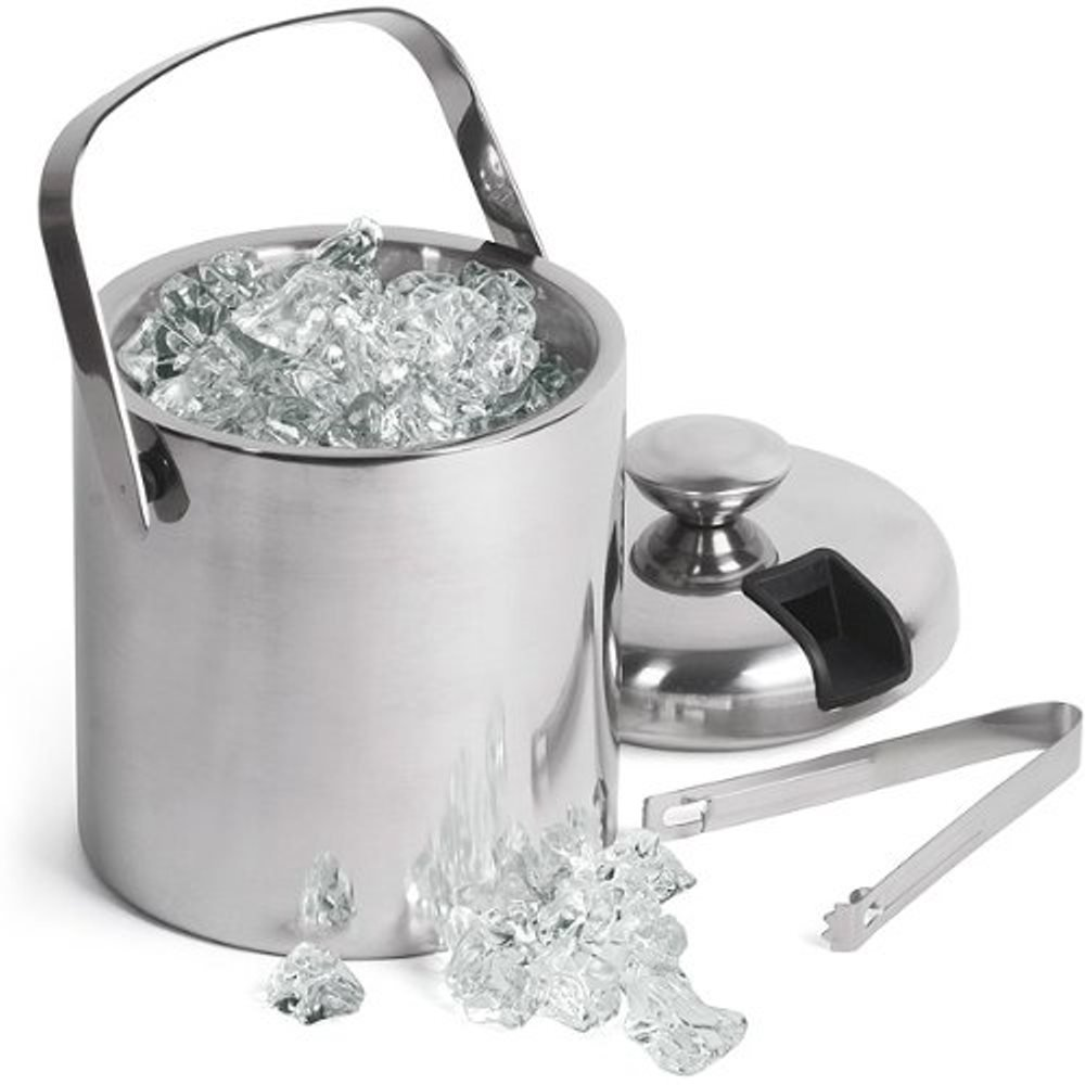 GSCW Small Ice Bucket with Tongs- Best Double Wall Insulated Stainless Steel Miniature Bar Accessory Gift Set