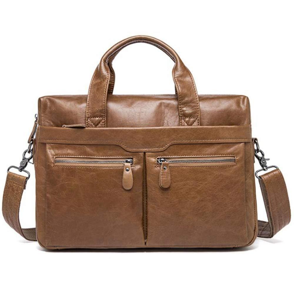Sxuefang Mens Shoulder Bag Mens Messenger Bag Mens Handbag Single Shoulder Briefcase Leather Business Man Bag 37.5x8.5x29cm