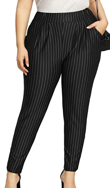 f0216626e61 Cromoncent Women s Plus Size Elastic Waist Tapered Striped Casual Pants  Trousers at Amazon Women s Clothing store