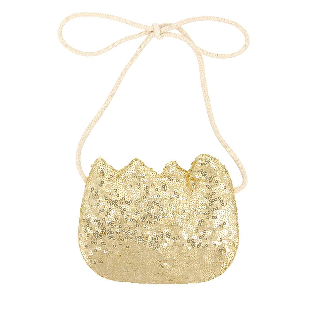 90S Girls Lovely Crown Shoulder Bag Children Shiny Cross-Body Bag Sequin Clutch