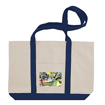 Flamingos In The Zoo (August Macke) Cotton Canvas Boat Tote Bag Tote
