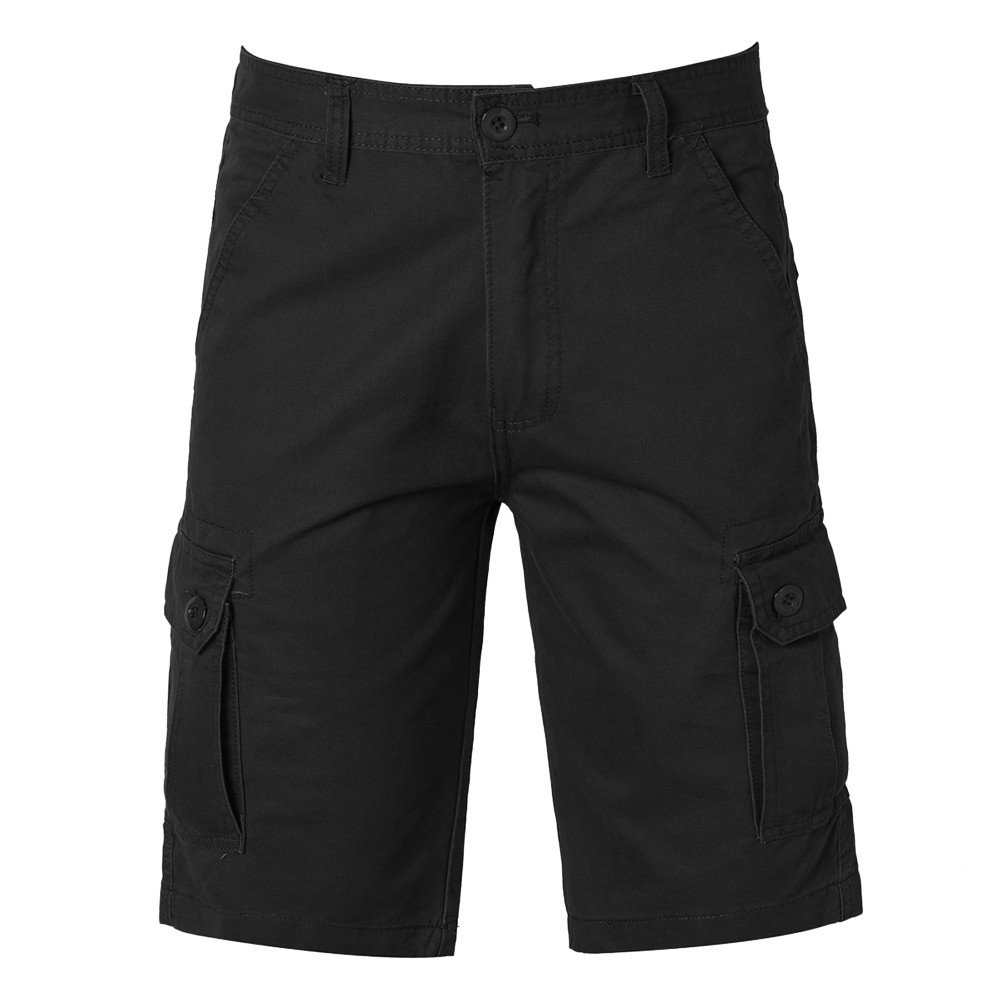 Realdo Men's Solid Shorts, Casual Pure Color Outdoors Pocket Work Trouser Cargo Pant(Black,36)