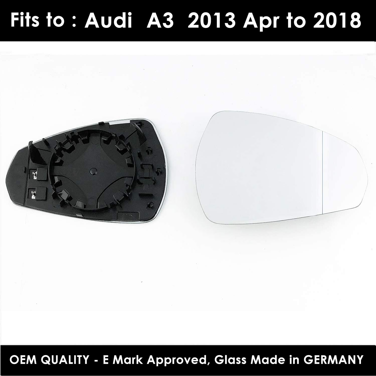 A3 RIGHT SIDE Wing Mirror Glass Wide Angle Fors Without Indicators 2003 Jun to 2007