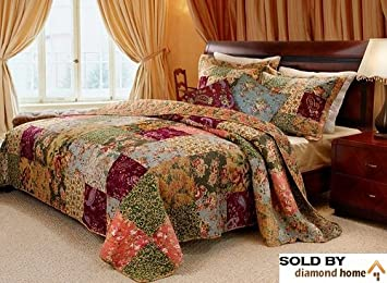 Amazon.com: French Country Patchwork Quilted Bedspread Set ...