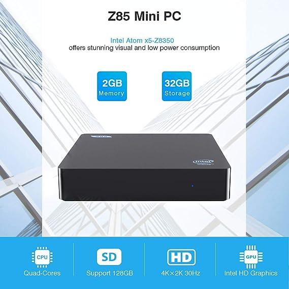 Z85 Mini PC Intel x5-Z8350 Multi Media Desktop 2GB+32GB 4K HD 1000Mbps BT4.0 Smart Mini PC Dual Display Dual WiFi 2.4G+5.8G M