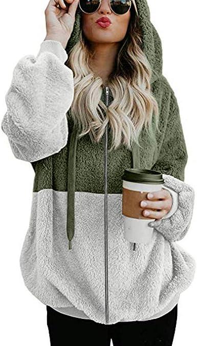 WUAI Women Oversized Sherpa Fleece Hoodie Jackets Faux Fuzzy