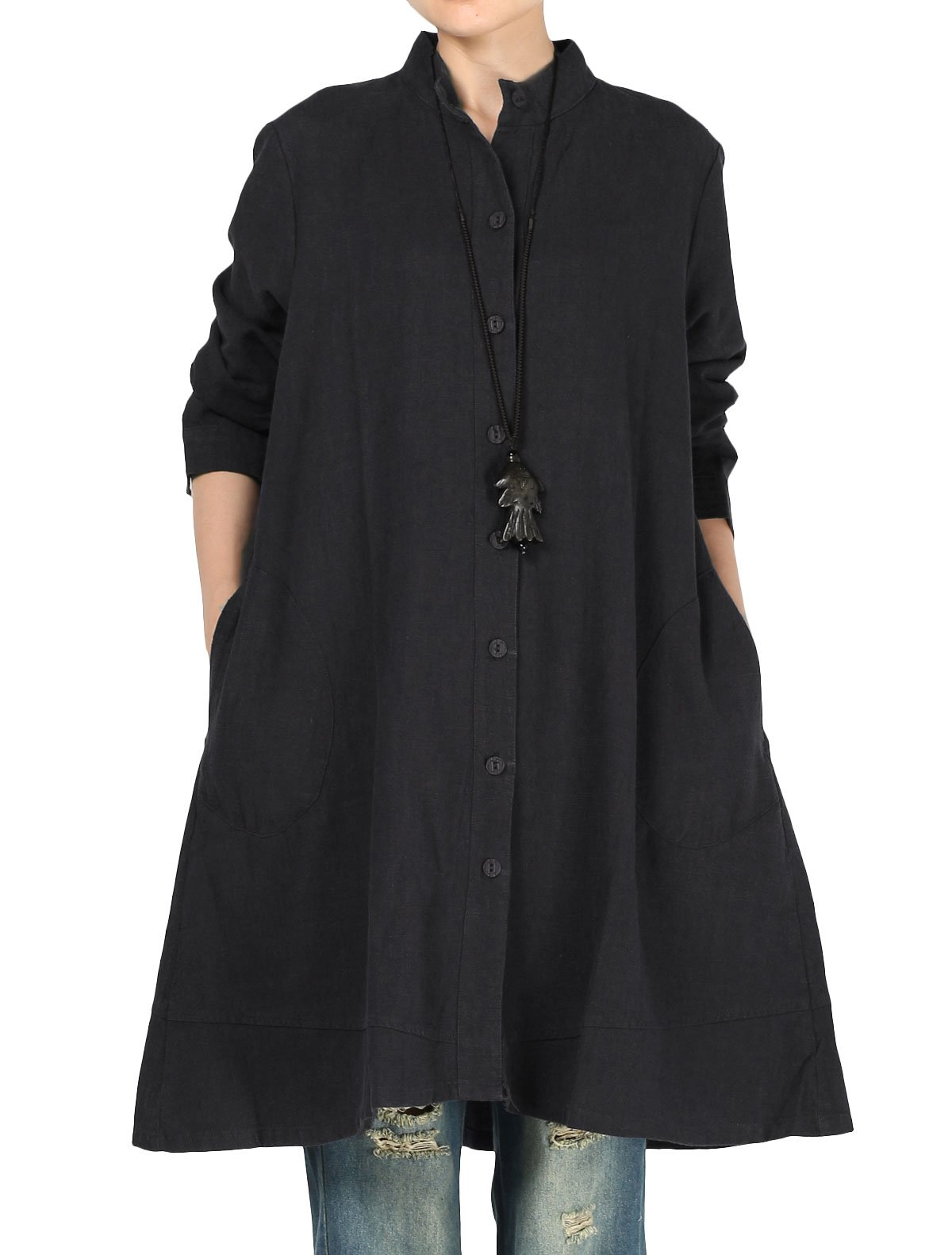 Mordenmiss Women's Cotton Linen Full Front Buttons Jacket Outfit Pockets Style 1 M Black