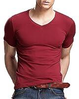 Xudian Short Sleeves Men T-shirt V-Neck