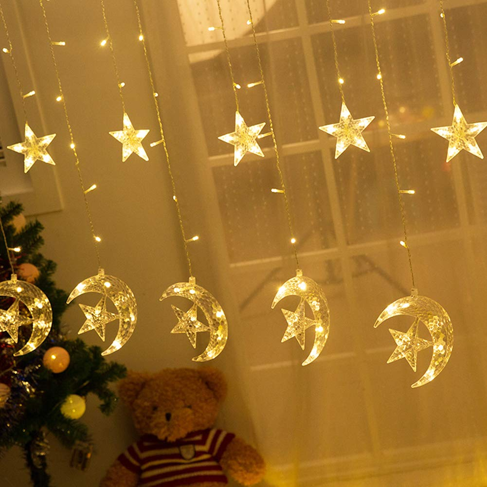 Twinkle Star 138 LED Star Moon Curtain String Lights,Window Curtain Lights with 8 Flashing Modes Decoration for Wedding,Party,Home,Patio Lawn,Warm White by Twinkle Star (Image #2)